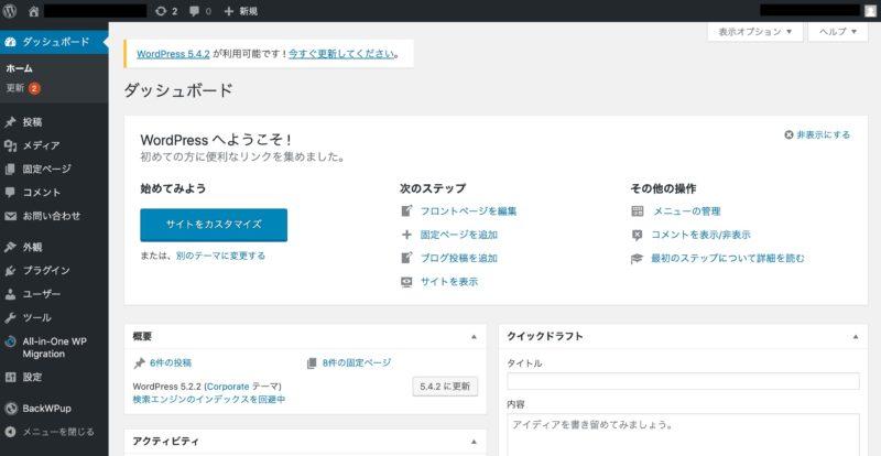 無事にログイン出来たWordPress管理画面