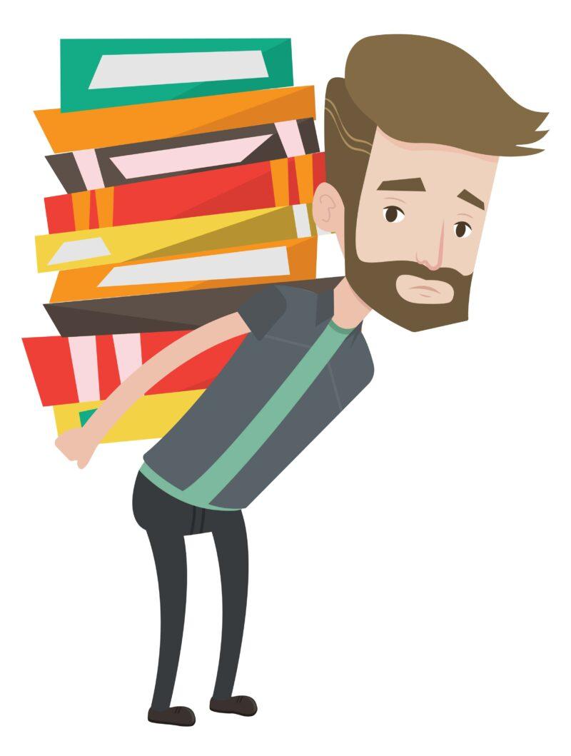 たくさんの本を背負っている人の画像
